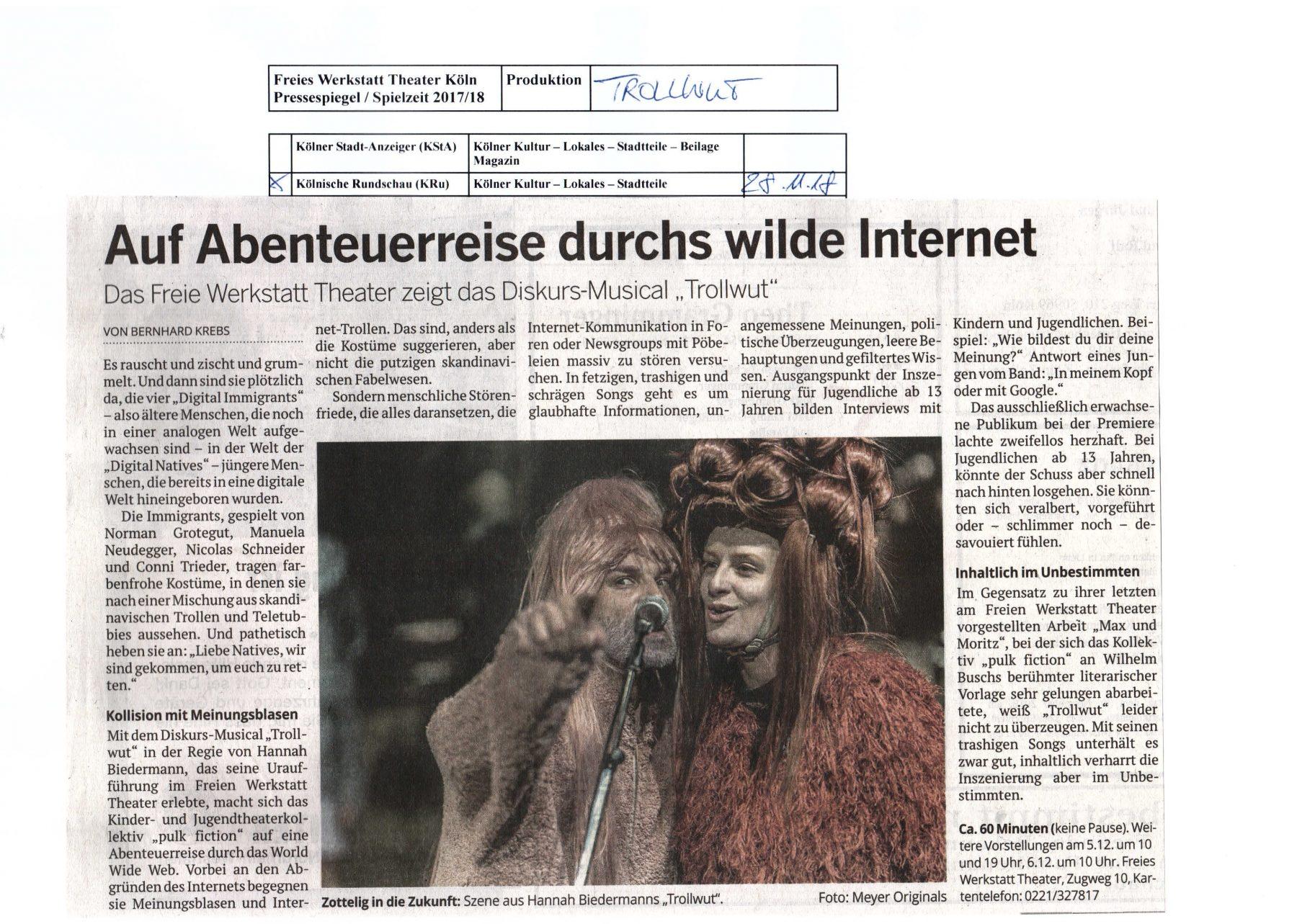 Trollwut_Kölnische Rundschau_28.11.2018